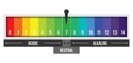 Illustrazione creativa del valore della scala del pH isolato su priorità bassa. Infografica di design di arte chimica. Elemento grafico di cartina di tornasole di concetto astratto.