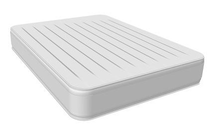 Kreatywna ilustracja wyściełane wygodne spanie białe wysokiej jakości wygodne podwójne łóżko materace ustawione na białym tle na tle. Sztuki projektowania. Element graficzny koncepcja abstrakcyjna.
