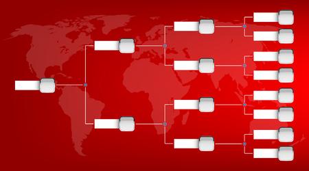 Kreative Illustration des Playoffs-Zeitplans mit zwei leeren Konferenzvorlagen auf Hintergrund isoliert. Kunstdesign-Meisterschaftshalterung. Abstraktes grafisches Turnier, Tasse, Element. Standard-Bild