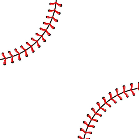 Creative illustration of sports baseball ball stitches, red lace seam isolated on background. Art design thread decoration. Abstract concept graphic element.