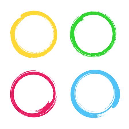 Illustration créative de l'élément dessiné à la main à l'aquarelle. Fond de coup de pinceau de cercle. Conception d'art de peinture. Graphique de grunge de couleur concept abstrait. Étiquette autocollante. Tampon pour vos mots manuscrits.