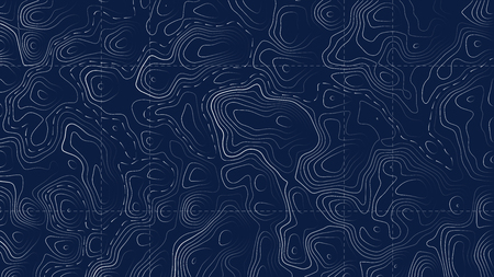 Creative illustration of topographic map. Art design contour background. Abstract concept graphic element and geography scheme. Mountain hiking trail grid, terrain path.