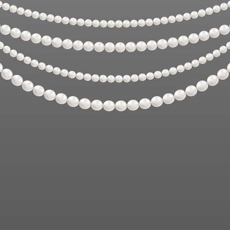Creative illustration of pearl glamour beads. Art design borders necklace patterns. Abstract concept graphic element. Elegant luxury decoration vintage feminine accessories.