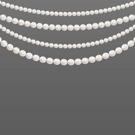 Kreatywna ilustracja perłowych koralików glamour. Art design graniczy z wzorami naszyjników. Element graficzny koncepcja abstrakcyjna. Elegancka luksusowa ozdoba vintage kobiece dodatki.
