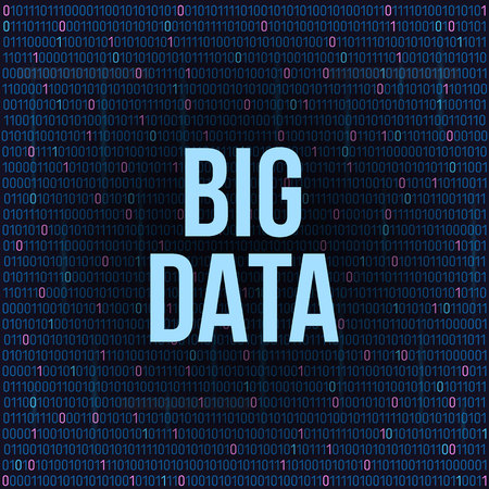 Creative illustration of BIG DATA analysis of Information. Science and technology background. Web display screen art design. Abstract concept graphic element for visual future analyze code.