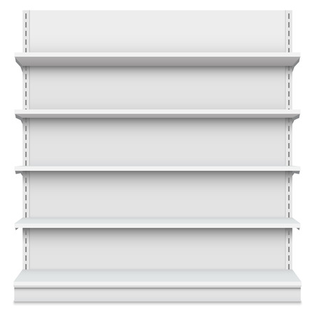 Creative illustration of empty store shelves isolated on background. Retail shelf art design. Abstract concept graphic showcase display element. Supermarket product advertising blank mockup.