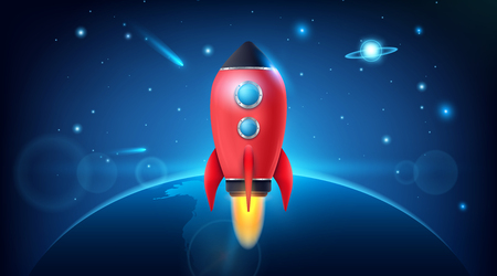 illustration of realistic 3D rocket space ship launch isolated on background. Space exploration. Art design startup creative idea. Abstract concept graphic element.
