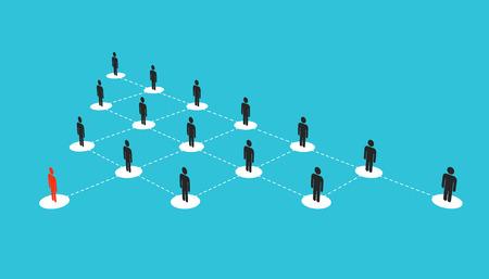 Abstrakte kreative Illustration des wachsenden sozialen Netzwerkschemas der Menschen, das auf Hintergrund isoliert wird Team der Unternehmensabteilung. Konzeptstruktur des Kunstdesign-Diagramms.