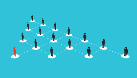 Abstract creative illustration of growing connecting people social network scheme isolated on background. Company corporate department team. Art design diagram concept structure.