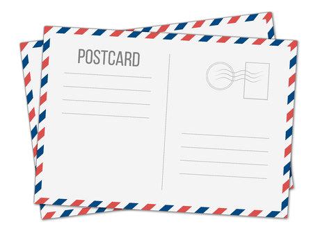 Illustration créative de carte postale isolée sur fond. Conception d'art de carte de voyage postale. Modèle de maquette de poste aérienne vierge. Élément graphique de concept abstrait.