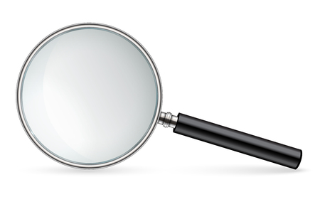 Kreative Illustration des realistischen Vergrößerungsglases lokalisiert auf Hintergrund. Kunstdesignsuche, Inspektionssymbol. Abstraktes Konzept Lupenzoom, Werkzeug mit Handlinsenelement. Standard-Bild
