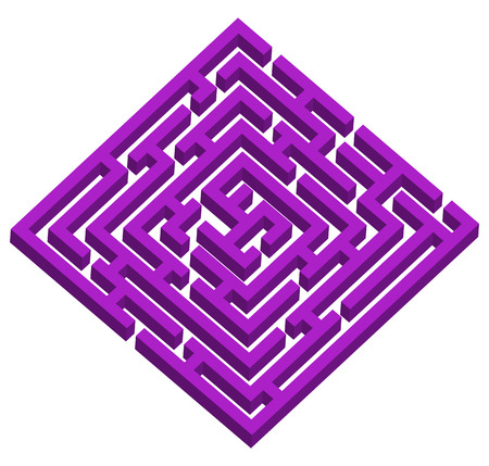 Creative illustration of labyrinth, maze with entry and exit isolated on background. Art design. Abstract concept paths to deadlock, entrance, exit, right way to go graphic element.