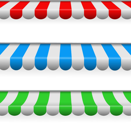 Creative illustration of colored striped awnings set for shop, restaurants and market store in different forms isolated on background. Art design. Abstract concept graphic element.