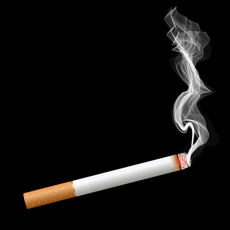 Creative illustration of realistic cigarette set isolated on background. Art design different stages of burn. Abstract concept graphic element.