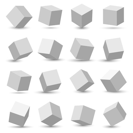 Creative illustration of perspective projections 3d cube model icons set with a shadow isolated on background. Art design geometric surfac rotate. Abstract concept graphic element.