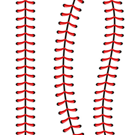 Illustration créative de points de balle de baseball de sport, couture de dentelle rouge isolée sur fond. Décoration de fil de conception d'art. Élément graphique de concept abstrait.