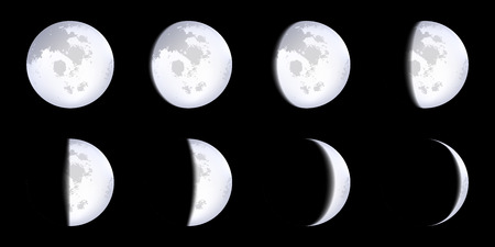 Creative illustration of realistic moon phases schemes isolated on background. Art design lunar calendar. Different stages of moonlight activity. Abstract concept graphic element