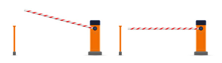 Creative illustration of open, closed parking car barrier gate set with stop sign isolated on background. Art design street road stop border. Abstract concept graphic element.