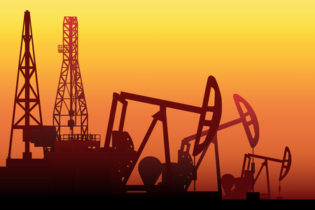 Creative illustration of oil pump industry silhouette, field pumpjack, rig drill over sunset isolated on background. Art design template. Abstract concept graphic equipment element.