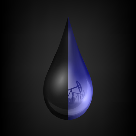 Creative illustration of petroleum drop, droplet of a crude gasoline or oil from pump industry, barrel isolated on background. Art design template. Abstract concept graphic element.
