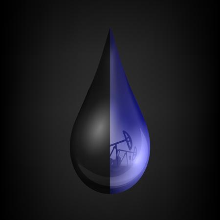 Ilustración creativa de una gota de petróleo, una gota de gasolina cruda o aceite de la industria de las bombas, barril aislado en el fondo. Plantilla de diseño de arte. Elemento gráfico del concepto abstracto. Foto de archivo