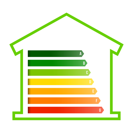 Creative illustration of home energy efficiency rating isolated on background. Art design smart eco house improvement template. Abstract concept graphic certification system element.