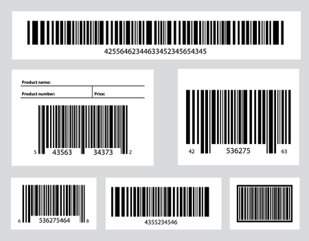 Creative illustration of QR codes, packaging labels, bar code on stickers. Identification product scan data in shop. Art design. Abstract concept graphic element.