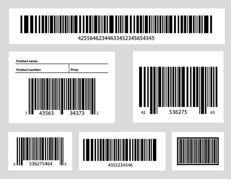 Illustrazione creativa di codici QR, etichette di imballaggio, codice a barre su adesivi. Identificazione dei dati di scansione del prodotto in negozio. Disegno artistico. Elemento grafico concetto astratto.