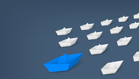Creative illustration of 3d red paper ship leading among white isolated on background. Business leadership different boat art design . Abstract concept graphic element with copy space.