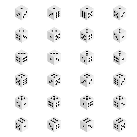 Creative illustration of isometric 3d gambling dice combination isolated on background. Art design game cubes. Abstract concept graphic casino 24 turns cube element. Stock fotó