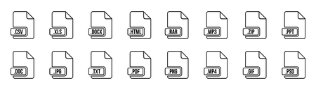 Creative illustration of file type icon set isolated on background. Art design flat lable. Document formats. Abstract concept graphic pictogram element for web, multimedia, computer technology.
