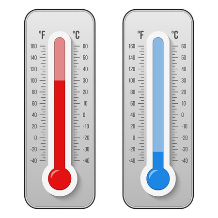 Creative illustration of celsius, fahrenheit meteorology thermometers scale isolated on background. Heat, hot, cold signs. Art design equipment. Weather temperature. Abstract concept graphic. 스톡 콘텐츠