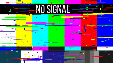 Creative illustration of no signal TV test pattern background. Television screen error. SMPTE color bars technical problems. Art design. Abstract concept graphic element. Фото со стока - 121105327