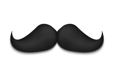 Creative illustration of realistic black mustaches on plastic stick isolated on background. Retro vintage art design. Fashionable old facial hair. Abstract concept graphic element.