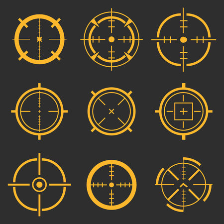 Creative illustration of crosshairs icon set isolated on background. Art design. Target aim and aiming to bullseye signs symbol. Abstract concept graphic games shooters element. Stock Photo