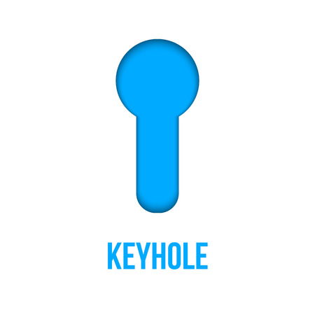 Creative illustration of realistic bright glossy metal keyhole isolated on background. Art design silhouette for key. Abstract concept graphic element.