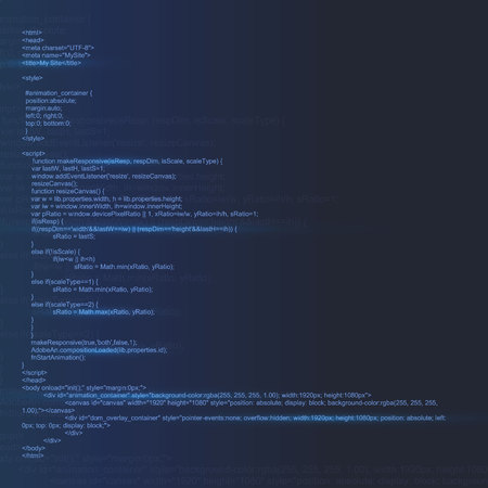 Creative illustration of programming HTML code on computer screen isolated on background. Art design website digital page. Program listing view. Abstract concept graphic technology element. Imagens - 121106922