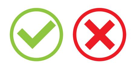 Creatieve illustratie van groene teek, rood kruis geïsoleerd op de achtergrond. Kunstontwerp met tekst wel en niet. Goed of fout. Waar of niet waar. Abstract begrip grafisch element. Stockfoto