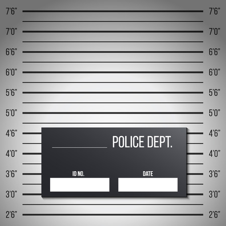 Creative illustration of police lineup, mugshot template with a table isolated on background. Art design silhouette of anonymous. Abstract concept graphic element.
