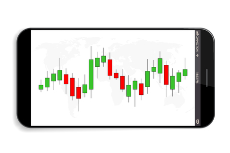 Creative illustration of forex trading diagram signals isolated on background. Buy, sell indicators with japanese candles pattern, exchange financial market graph. Candlestick chart element.