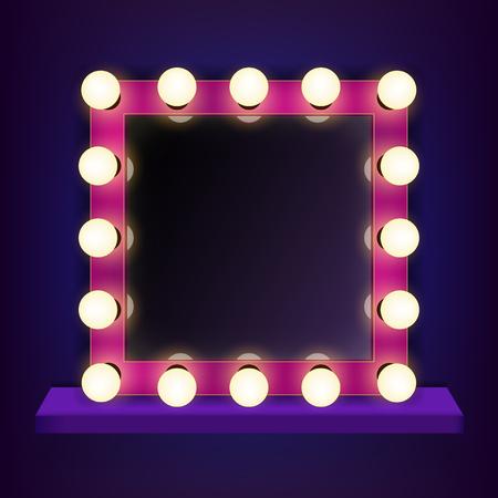 Creatieve illustratie van make-up frame met lichte, volumetrische selectiekader spiegel geïsoleerd op de achtergrond. Art design retro elektrische lampen, gloeiende lampen. Abstract begrip grafisch element. Stockfoto