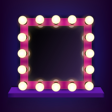 Creative illustration of makeup frame with light, volumetric marquee mirror isolated on background. Art design retro electric bulbs, glowing lamps. Abstract concept graphic element. Imagens