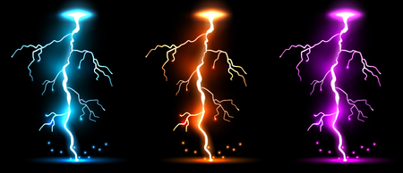 Creative illustration of realistic lightnings set isolated on background. Art design thunder bolt, storm, sparkle magic effect. Abstract concept graphic electric energy element Stock Photo