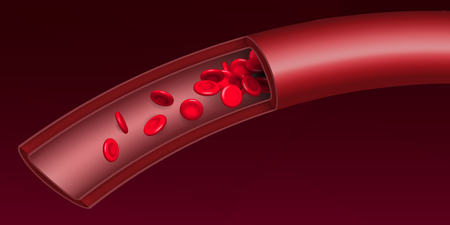 Creative illustration of artery red blood cells stream flow, microbiological medical erythrocyte vessel isolated on background. Art design medicine. Abstract concept graphic science element. Standard-Bild - 121105915