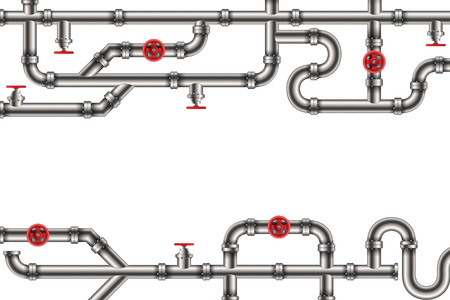 Creative illustration of industrial oil, water, gas pipe system and ware pipeline fittings, valves on background. Art design plumbing and taps. Abstract concept graphic element.