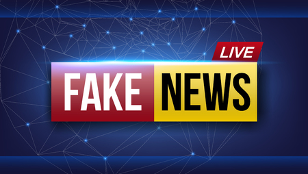 Creative illustration of fake news live broadcasting television screen isolated on background. Art design channel tv template. Abstract concept graphic element.