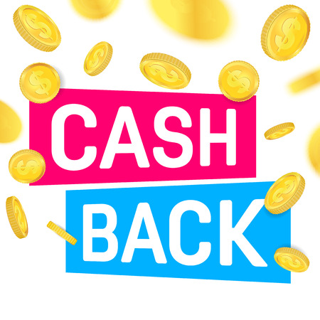 Creative illustration of cash back, cashback return, money refund tag isolated on background. Art design sticker, labels, emblem advertisement banner template. Abstract concept graphic element. Stock Photo