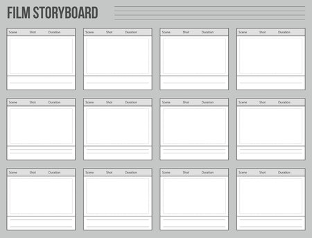 Creative illustration of professional film storyboard mockup isolated on background. Art design movie story board layout template. Abstract concept graphic shot and scene element. Stok Fotoğraf