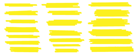 Creative illustration of stain strokes, hand drawn yellow highlight japan marker lines, brushes stripes isolated on background. Art design. Abstract concept graphic stylish element.