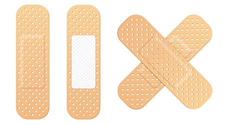 Illustrazione creativa di cerotti medici elastici benda adesiva insieme isolato su priorità bassa. Toppa elastica medica di design artistico. Elemento di forma diversa grafica di concetto astratto